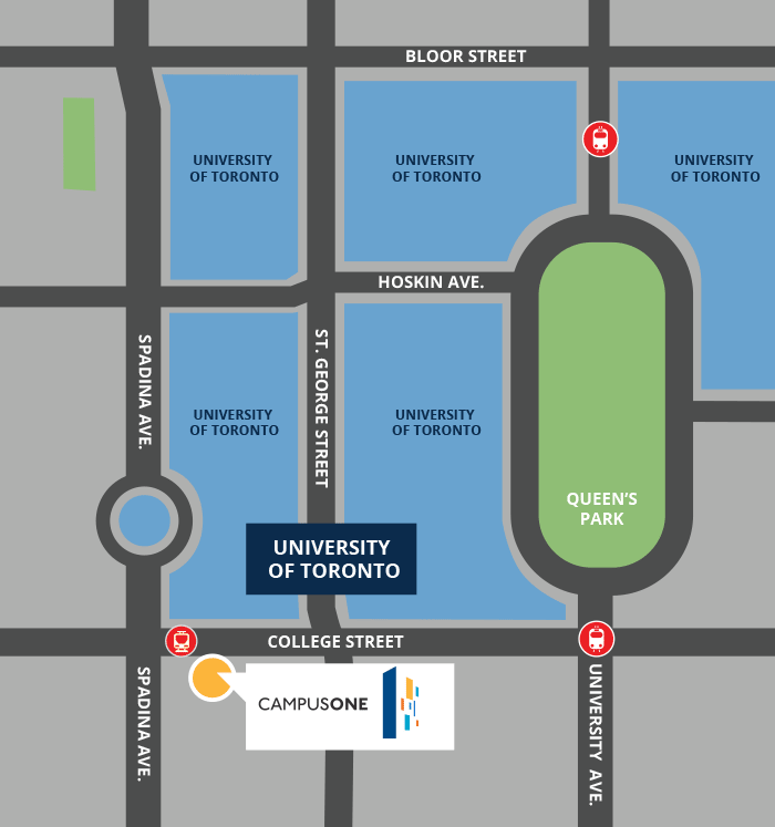 CampusOne location map. Student living across the street from University of Toronto.